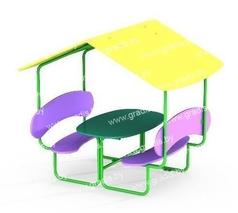 1102-01 Стол-скамья с навесом