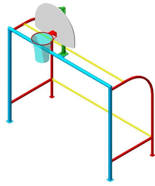 Ворота минифутбольные с баскетбольной стойкой С01.3.312